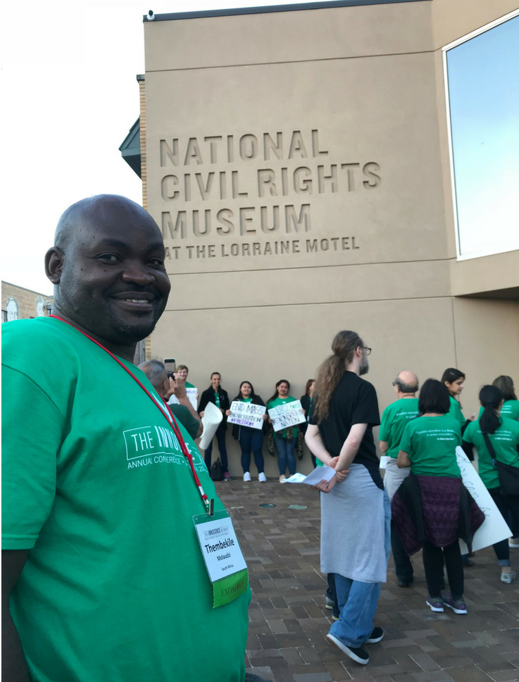 After the march – Thembekile outside the Lorraine Motel – the National Civil Rights Museum – where Martin Luther-King was assassinated fifty years ago
