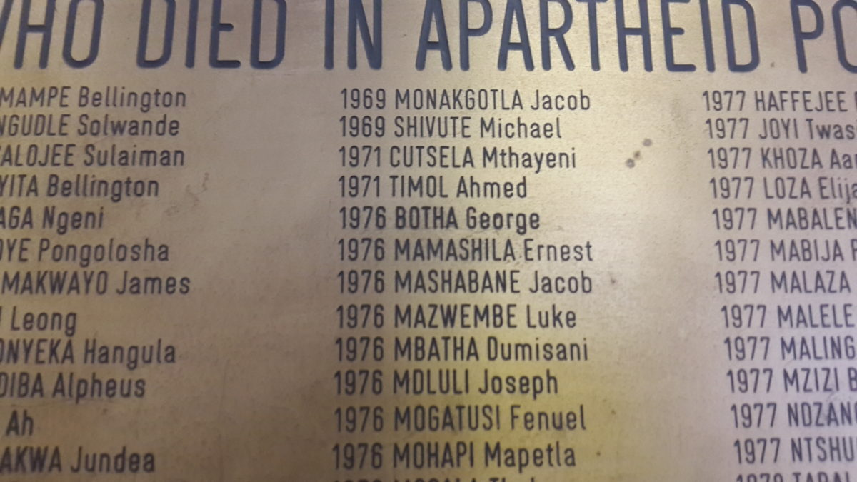 Ahmed Timol's name on the plaque commemorating those who died in detention at John Vorster Square